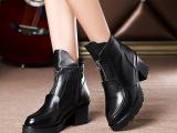 【出售】/女鞋爆款新款欧洲站韩版女靴前拉链真皮马丁靴秋冬爆款
