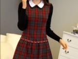 2014春夏新款韩版女装格子娃娃领长袖苏格兰风休闲百搭连衣裙