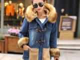 韩版女装毛领修身加厚中长款牛仔外套女韩国东大门代购一件代发