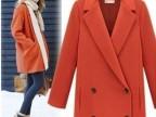 韩版时尚 简洁双排扣毛呢休闲西装大衣外套