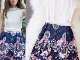 厂家直销欧美夏季高端蕾丝拼接大牌印花拼色修身连衣裙女装