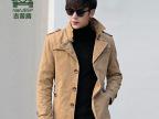 5793Z#吉普盾冬装新款男式加绒中长款翻领风衣 韩版大码厚外套男