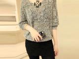 2015春装大码女装纯色V领线衫镂空针织衫女套头蝙蝠袖毛衣外套女