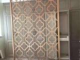 简约新中式镀铜轻奢铝艺雕花工艺屏风隔断