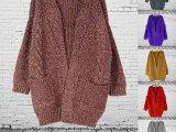 东大门新款女式春装麻花口袋镂空无扣宽松毛衣针织开衫外套 女式
