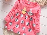 2015新款秋装女童连衣裙两只卡通小兔子1-5岁儿童宝宝韩版上衣