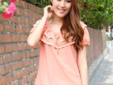 凯络女装夏装2013新款短袖雪纺衫韩版大码宽松荷叶领雪纺衫上衣