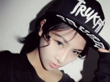 韩版草字trukfit平沿帽原宿滑板帽子hiphop男女棒球帽嘻