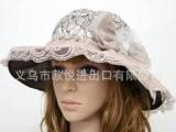 义乌帽子批发 女士夏日遮阳帽子 珍珠蝴蝶