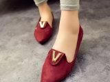 春季新款韩版浅口尖头平底驾车鞋单鞋 百搭显瘦舒适甜美V金属女鞋