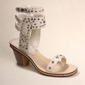 2014年夏季欧美头层牛皮真皮女士凉鞋铆钉中跟粗跟露趾扣带女鞋子