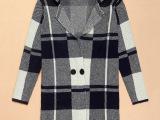 2014批发韩版爆款女装毛衣外套 拼接格子冬季保暖韩国外套