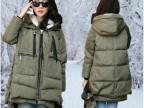 高品质2014秋冬新款韩版军工装时尚大码连帽中长款羽绒服女