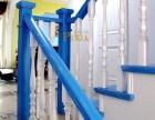别墅地中海风格经典楼梯 蓝色实木楼梯风格 定制实木楼梯款式