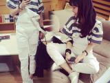 2015新品女装 韩版女装批发宽松磨破白色牛仔背带裤长裤女