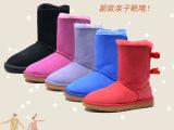 新款UGG3280羊皮毛一体雪地靴女中筒保暖女靴丝带蝴蝶结代发货