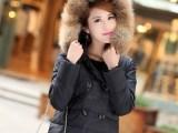 2013爆款 秋冬新品 双排扣超大毛领女士中长款羽绒服 90绒