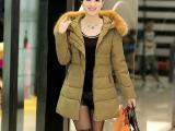14冬装新款艾莱依女式羽绒服中长款韩版修身白鸭绒貉子大毛领外套