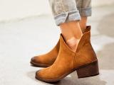 清仓短靴2014春秋新款真皮尖头粗跟短靴女 英伦V口中跟马丁靴踝