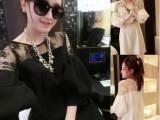 2014春季新款连衣裙女韩版气质蕾丝灯笼袖七分袖短裙子