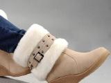 2013欧美新款绒面羊毛雪地靴 坡跟防水