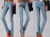 2014春夏新款女装修身磨破小脚铅笔牛仔裤 女式卡通猫童牛仔裤