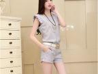 2014新款 女装 甜美 时尚抽褶无袖圆领休闲套装 夏季女装