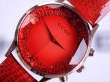 正品高奢华 钻石水钻宝石玻璃手表 彩色真皮带个性时尚大表盘女表