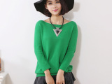 阿玛施专柜同款2015秋季韩版女装宽领七分袖毛衣女式针织衫