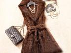 2015新款欧美版外贸原单大码进口水貂编织中长款连帽皮草马甲女装