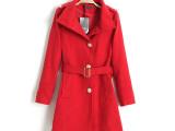 欧美秋冬新款 修身显瘦单排扣加绒加厚毛呢外套 中长款大衣风衣