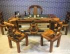 自贡市老船木茶桌椅子仿古茶台实木沙发茶几餐桌办公桌家具博古架