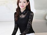 2015秋装新款韩版娃娃领长袖上衣订珠镂空修身蕾丝打底衫雪纺