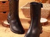 欧洲站2014秋冬新款平跟平底中筒短靴 真皮圆头女靴欧美骑士靴