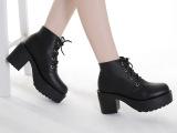 2015舒适底新款女靴子松糕跟短靴 高跟粗跟女鞋厚底马丁靴