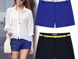 2014春夏新款显瘦休闲短裤子热裤蓝色黑色短裤韩版