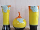 批发手工雕刻花瓶 陶瓷摆件颜色釉三件套
