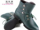 诗朴琳真皮大码女鞋新款专柜正品头层牛皮内增高短靴踝靴毛靴