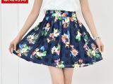 韩国2015夏季新款品牌高腰显瘦印花雪纺网纱a字短裙欧根纱半身裙