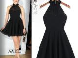 2014新款黑色性感 厂家直销欧美风 挂脖连衣裙 荷叶边裙