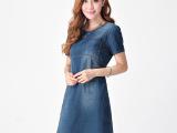 牛仔连衣裙女秋装2014新款韩版气质子爆款修身圆领短袖女式裙子