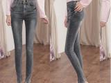 韩版灰色牛仔裤女士显瘦小脚裤韩国铅笔长裤子女式