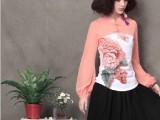2014夏季新款民族风品牌女装时尚修身拼接钉珠长袖T恤女