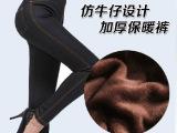 中老年女装仿牛仔打底裤加厚加绒超保暖显瘦铅笔裤靴裤女裤子大码