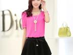 2014夏季新款时尚女装韩版 修身 多色 短袖 雪纺衫 小衫 送项链