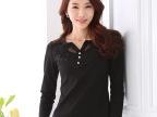 2015秋装新款女装韩版蕾丝花边修身显瘦小衫上衣长袖T恤一件代发