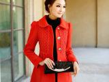 可美丽春秋冬季新款韩版修身女式中长毛毛领羊毛呢子大衣风衣外套