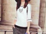 欧美2014早春新款 专柜同款两件套套装 七分袖衬衫 格子短裤套