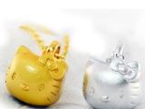 个性Hello Kitty猫咪铃铛项链925纯银项链 黄金KT