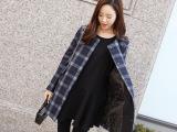 韩版秋冬新款中长款修身毛呢大衣女 气质格纹圆领呢子女式大衣